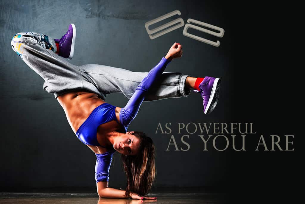 Woman balancing her arm to show the strength of The Extra-Strength Strap Saver, As powerful as you are