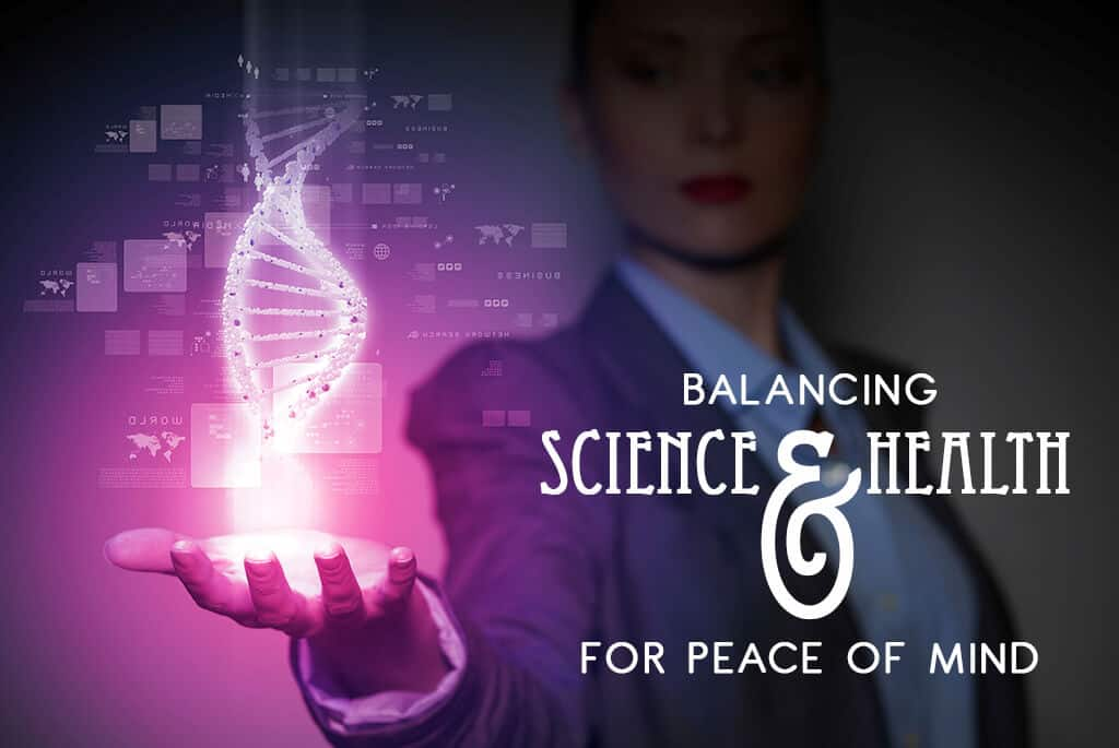 A woman holding up her hand to the double helix of DNA, balancing science and health for peace of mind