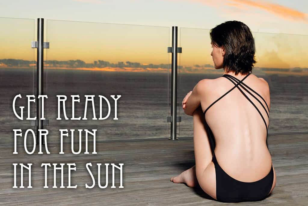 a woman on a dock looking at the water during a sunrise with the text get ready for fun in the sun