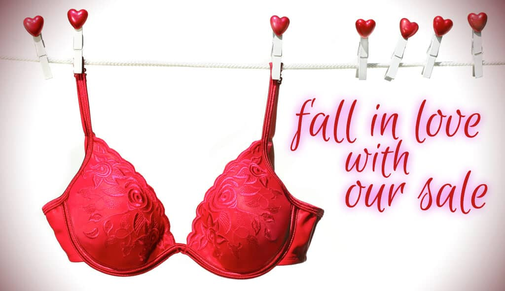 Red bra on a clothesline with clothespins with hearts on them, text reads fall in love with our sale