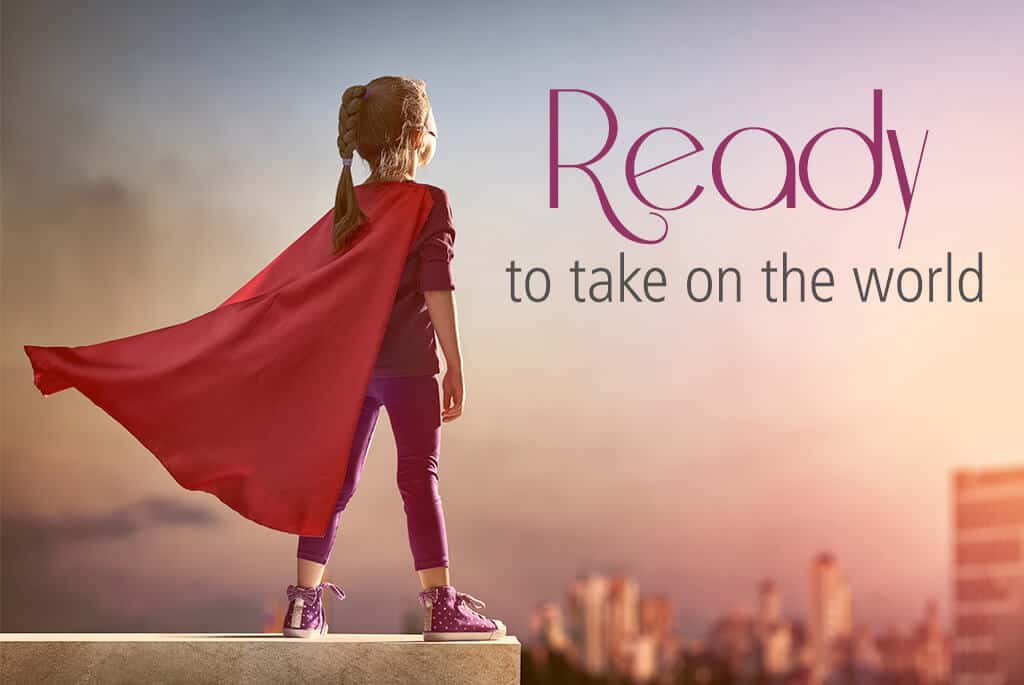little girl wearing a cape standing on a roof overlookin a city, text reads ready to take on the world