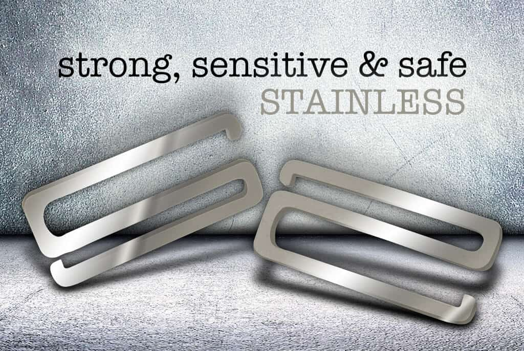 two stainless steel strap savers, perfect because it's strong, and safe for sensitive skin
