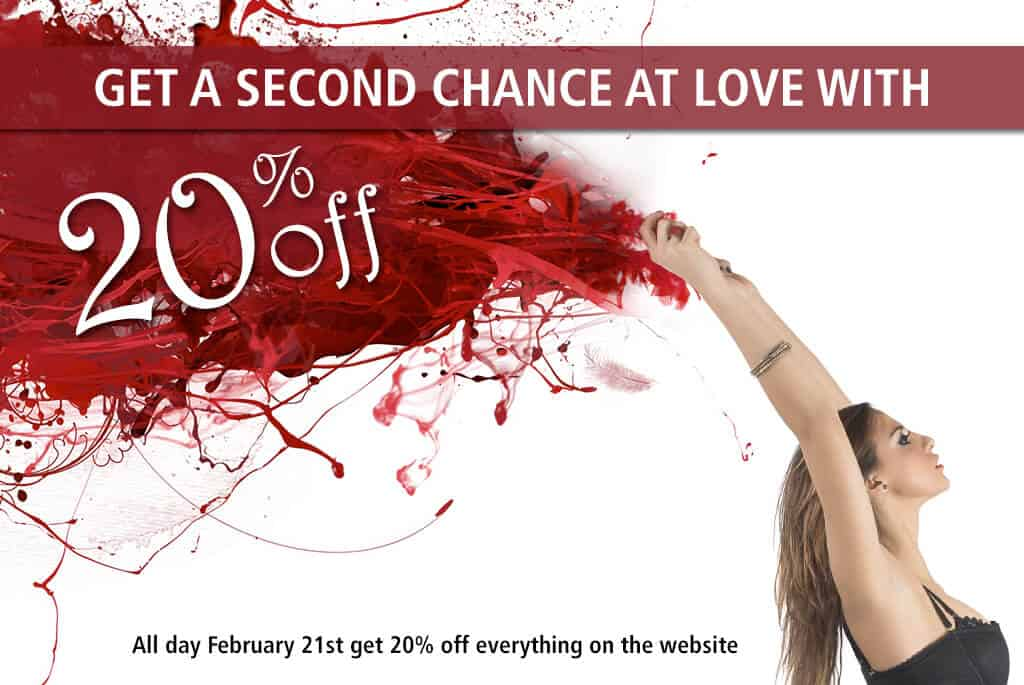 Woman in a black dress leaning backwards with her arms over hear head, with red streamers coming from behind her, text get a second chance at love with 20% off, all day Feb 21st get 20% off everything on the website